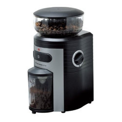 Espressione - Espressione Professional Conical Burr Coffee Grinder - Espressiones commercial quality grinder stands out from the rest with its powerful grinding conical mechanism and precision controlled engineering. Large 8.5 ounce hopper and 15 levels of grinding all provide convenience and versatility. Whether brewing coffee or making an espresso the grinder can complete the job fast. The finest setting is ideal for preparing Turkish coffee, which is a rare feature to find in a grinder. A built-in timer with quantity measure can make from 2 to 10 cups in a matter of seconds and will stop automatically when ready. Espressione Professional Conical Burr Coffee Grinder has an advanced conical burr design to reduce the amount of friction and heat thus preserving coffee flavor and aroma. The coffee container holds up to 4 ounces of grounds and remains sealed during grinding and is anti-static. Superior functions and smart design make Espressione Professional Conical Burr Coffee Grinder the ideal commercial quality grinder for your home and office.
