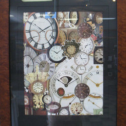 Time Pieces (Original) by Kathleen Fallucca - I have a small collection of clocks and when I saw so many pictures of clocks in magazines and catalogs, I thought this would be a fun and compact way to 'collect' them.  Burlwood Frame, Black Mat