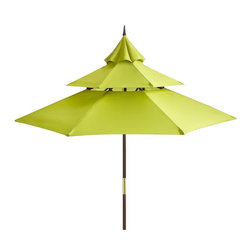 Citron Pagoda Umbrella - The pagoda shape on this outdoor sun umbrella gives it a unique look; it's a little more decorative than other standard porch umbrellas.