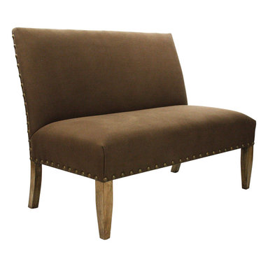 Zentique - Bench - Brown - An elegant bench is the perfect alternative to a love seat or side chair in a living room or master bedroom. Your choice of brown or natural linen pairs beautifully with bronze nailheads for a classic look. The design comes together effortlessly with jute backing and dark wood legs.