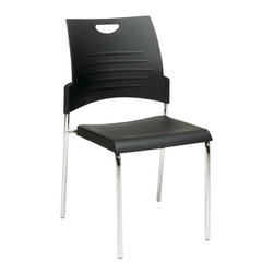 Office Star - Office Star STC Series Set of 4 Straight Leg Stack Chair in Black - Office Star - Drafting Chairs - STC8300C43 -Straight Leg Stack Chair with Plastic Seat and Back. Black. 2 Pack. Plastic Seat and Back. Available in 2 (STC8300C2), 4 (STC8300C4) or 30 (STC8300C28) Pack. Stacking Dolly Available (DOL8300). 28 Pack ships with Dolly. Chrome Finished Steel Frame.
