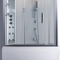 Ariel - Ariel Platinum DA328F3 L Steam Shower with Whirlpool Bathtub - These fully loaded steam showers include a whirlpool bathtub, massage jets, chromotherapy, aromatherapy and built in FM Radio for Easy Listening s to help increase your therapeutic experience. Dimensions:  59 x 32 x 87.4, ETL listed (US & Canada electrical safety) 220v, Computer control panel w/ timer for easy use, Steam sauna (3KW generator), 6 Body Jets  14 whirlpool massage jets (1.2HP pump / 59 gal tub), Handheld and Rainfall Showerhead for Ultimate Experience, Overheat protection, Ventilation fan, FM Radio for Easy Listening , Available in left / right versions, 110V Whirlpool Tub System