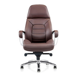 Zuri Furniture - Gates Genuine Leather Aluminum Base Chair, Dark Brown - Sleek, sharp and professional, our Gates executive desk chair collection shines all the way from its sturdy aluminum swivel base to its supple genuine leather. The ergonomic design and synchronized mechanism create a comfortable workspace, placing your office on the cutting edge of corporate success. Available for purchase today in black, dark chocolate and white.