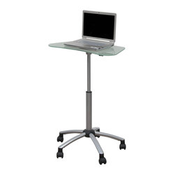"""Studio Designs - Vision Mobile Cart - Powder Coated Steel Construction for Durability. (5) Casters for Mobility with 2 Locking for Stability. Overall Dimensions: 25 in. W x 23 in. D x 24.75 in. - 34.5 in. H. Top rotates 360°. Work Surface 25 in. W x 14 in. D. Work Surface Height Adjustable from 24.75 in. to 34.5 in. Calico Designs' multi-functional Vision Mobile Cart features a work surface of 25""""W x 14""""D which rotates 360 degrees. Can be used for laptop computer, audio/visual, presentation/lecture and may be used comfortably while standing or sitting. Its adjustable height ranges fom 24.75'' to 34.5"""". Offers wheel casters with two locking for secure mobility, and powder coated steel construction for durability. Overall dimensions: 25''W x 23''D x 24.75''- 34.5''H"""