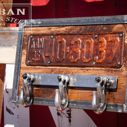 License Plate & Tow Hook Coat Rack - Urban industrial chain hook hat, scarf, key rack. Kansas 1920-30s license plate, three 5400 lb. capacity chain hooks that still swivel, antique pine and steel. Hang this sturdy unit in your entryway, bedroom or mud room, or use it to pull your pickup out of the mud.