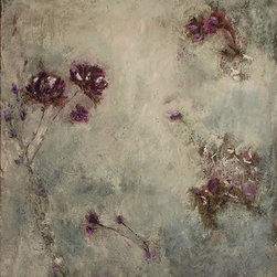 Botanicals 2.1 - Lovely, whimsical new encaustic botanicals for your inspired space. Wax and oil combined, slowly, layer by layer, creates a luminous gorgeous piece to fit any style. Each one of these new pieces becomes a statement piece.  Greys, egpplants, cranberry colors... lavenders, all with a real fresh look. Needs no frame.