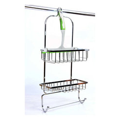 Taymor - Shower Caddy in Chrome Finish - Includes shower door squeegee. Two hooks perfect for hanging hand towels and loofas. Wipe clean with soft damp cloth. Do not use any harsh abrasives or chemicals. Made from plated steel, plastic and rubber. 10.5 in. W x 5 in. D x 22.5 in. H (3 lbs.)Shower Caddy is a shower door squeegee for convenient bathroom cleaning after a relaxing shower. The two baskets on the caddy can hold jumbo sized shampoo, conditioner and body wash bottles.