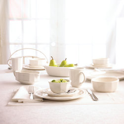White Dinnerware - A tribute to the intricate ornamental work of fine artisans, gentle embossed arches grace the rim of each piece in the Filigree dinnerware collection. The embossed detailing complements the graceful scalloped rims of this classically elegant white pattern.