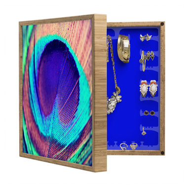 DENY Designs - Shannon Clark Pretty Peacock BlingBox Petite - Handcrafted from 100% sustainable, eco-friendly flat grain Amber Bamboo, DENY Designs BlingBox Petite measures approximately 15 x 15 x 3 and has an exterior matte cover showcasing the artwork of your choice, with a coordinating matte color on the interior. Additionally, the BlingBox Petite includes interior built-in clear, acrylic hooks that hold over 120 pieces of jewelry! Doubling as both art and an organized hanging jewelry box, It's bound to be the most functional (and most talked about) piece of wall art in your home! Custom made in the USA for every order.