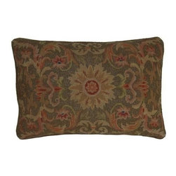 "EuroLux Home - New 15"" X 22"" Pillow Leaf Orange Embroidered - Product Details"