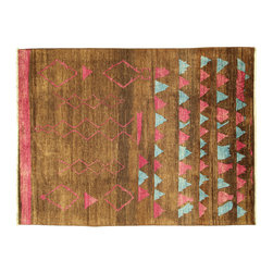 Manhattan Rugs - New Modern Brown Pink & Blue Rug 9'x12' Tribal Oriental Hand Knotted Wool MC133 - This is a true hand knotted oriental rug. it is not hand tufted with backing, not hooked or machine made. our entire inventory is made of hand knotted rugs. (all we do is hand knotted)