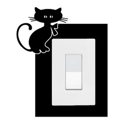 StickONmania - Lightswitch Kitty Sticker - A vinyl sticker decal to decorate a lightswitch.  Decorate your home with original vinyl decals made to order in our shop located in the USA. We only use the best equipment and materials to guarantee the everlasting quality of each vinyl sticker. Our original wall art design stickers are easy to apply on most flat surfaces, including slightly textured walls, windows, mirrors, or any smooth surface. Some wall decals may come in multiple pieces due to the size of the design, different sizes of most of our vinyl stickers are available, please message us for a quote. Interior wall decor stickers come with a MATTE finish that is easier to remove from painted surfaces but Exterior stickers for cars,  bathrooms and refrigerators come with a stickier GLOSSY finish that can also be used for exterior purposes. We DO NOT recommend using glossy finish stickers on walls. All of our Vinyl wall decals are removable but not re-positionable, simply peel and stick, no glue or chemicals needed. Our decals always come with instructions and if you order from Houzz we will always add a small thank you gift.