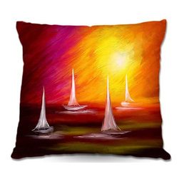 DiaNoche Designs - Pillow Woven Poplin by Tara Viswanathans Sail Away - Toss this decorative pillow on any bed, sofa or chair, and add personality to your chic and stylish decor. Lay your head against your new art and relax! Made of woven Poly-Poplin.  Includes a cushy supportive pillow insert, zipped inside. Dye Sublimation printing adheres the ink to the material for long life and durability. Double Sided Print, Machine Washable, Product may vary slightly from image.