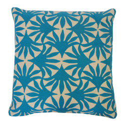 JITI - Money Tree Teal Pillow - Add a sensational splash of color to a dark sofa or bedding set with this terrific teal pillow. The cotton cover features an uplifting tone and delightful pattern, protecting a feather and down-filled insert.