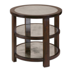 Uttermost - Monteith Mirrored Lamp Table - If you're a little contemporary and a little traditional, this mirrored side table is a handy addition to your space. It has the softness of wood and the modern feel of glass. Three shelves can hold books, magazines, a plant or whatever you wish to display.