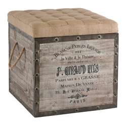 Kathy Kuo Home - French Country Vintage Crate Burlap Cushion Cube Storage Ottoman - This old wood crate look has a tufted burlap removable top and woven handle. The crate is accented in rustic distressed metal and nailed into place.