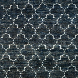 "Loloi - Loloi Sahara SJ-07 (Midnight) 5'6"" x 8'6"" Rug - If it's a stylish statement you seek to make, then we have the rug for you. From India, the Sahara Collection updates living areas with a fresh take on nomadic, Moroccan inspired rugs. Sahara is hand knotted with two different fibers - jute and wool - the later forms the ethnic patterns in each design. Available in traditional off-whites and gorgeous blues."