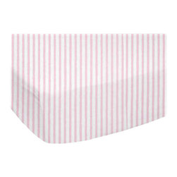 "SheetWorld - SheetWorld Fitted Youth Bed Sheet - Pink Stripes Jersey Knit - Made In USA - This luxurious plush 100% cotton ""jersey knit"" youth bed sheet is made of the highest quality fabric that's measured at 150 gsm (grams per square meter). That means these are softer than your favorite t-shirt, and as soft as flannel. Sheets are made with deep pockets and are elasticized around the entire edge which prevents it from slipping off the mattress, thereby keeping your baby safe. These sheets are so durable that they will last all through your baby's growing years. We're called sheetworld because we produce the highest grade sheets on the market today. Features a soft pink pinstripe printed on a solid white background. Size: 33 x 66."