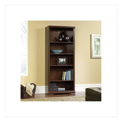 Sauder - Sauder Carolina Estate 5-Shelf Bookcase in Select Cherry - Sauder - Bookcases - 411897 - This bookcase is a practical addition to any home or office. Featuring three adjustable shelves, this bookcase will add style and storage to any room. Select Cherry finish.