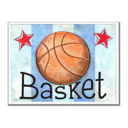 Stupell Industries - Basketball Basket Stripe Rectangle Wall Plaque - Made in USA. MDF Fiberboard. Hand finished and packed. Approx. 11 in. W x 15 in. L. 0.5 in. ThickThe Kids Room by Stupell features exceptional handcrafted wall decor for children of all ages.  Using original art designed by in-house artists, all pieces feature hand painted and grooved borders as well as colorful grosgrain ribbon for hanging.  Made in the USA, everything found in The Kids Room by Stupell exudes extraordinary detail with crisp vibrant color. Whether you are looking for one piece to match an existing room's theme, or looking for a series to bring the kid's room to life, you will most definitely find what you are looking for in The Kids Room by Stupell.