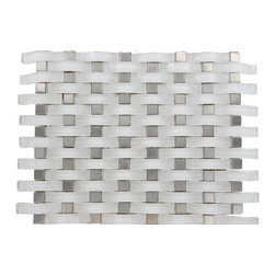 "Loft Curve Super White Glass Tile - Loft Curve Super White Glass Tile Whether using this stunning tile as a back splash, wall, or as an accent piece, the polished super white glass tile and black dot will bring a modern and contemporary ambiance to the room. Add a pop to any room with these beautiful tiles that are versatile; great to use for a back splash. Chip Size: 2 1/2"" x 3/4"" Dot: 3/4"" x 3/4"" Color: Super White Glass Finish: Polished Sold by the Sheet - each sheet measures 13""x11"" (0.99 sq. ft.) Thickness: 8mm Please note each lot will vary from the next."