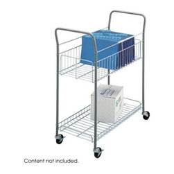 Safco Economy Mail Cart - The Safco Economy Mail Cart is a brilliant cart for a business on a budget. Quality construction like tubular steel and chrome plating make this mail cart just as good as any other. It even features baskets that can hold up to 120 legal size files and a lipped bottom shelf to keep items from sliding out. The cart itself rolls smoothly on 3-inch rubber swivel casters; two of which can be locked firmly in place. Dimensions: 35L x 16.25W x 38.75H inches.About Safco ProductsSafco products were specifically developed to meet the changing needs of the business world, offering real design without great expense. Each product is designed to fit the needs of individuals and the way they work, by enhancing comfort and meeting the modern needs of organization in the workplace. These products encourage work-area efficiency and ultimately, work-life efficiency: from schools and universities, to hospitals and clinics, from small offices and businesses to corporations and large institutions, airports, restaurants, and malls. Safco continues to offer new colors, new styles, and new solutions according to market trends and the ever-changing needs of business life.