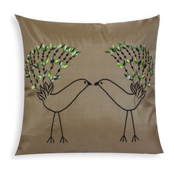 VintageMaya - Love Birds Embroidered Pillow Cover - Snuggle up with your lovebird and this delightful pillow. These sketch-like birds with bright green plumage on a taupe background make for a rustically playful look. It will look fantastic on the bedspread in your woodland-inspired boudoir.