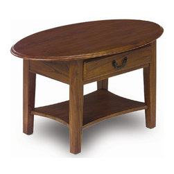Leick Furniture - Favorite Finds Oval Coffee Table w Shelf & Dr - Dovetailed drawer box. Bottom display shelf. Solid Ash and Oak veneers. Minimal assembly required. 36 in. W x 22 in. D x 19 in. HNeed a coffee table in a compact space? Consider this oval shape table which will keep to itself no sharp corners to bump against, a tightly cropped top designed to stay clear. Add three layers of service top, drawer storage and lower display shelf all built into a sturdy package.