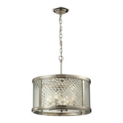 Elk Lighting - Elk Lighting Chandler Collection 4 Light Pendant In Polished Nickel - 31462/4 - 4 Light Pendant In Polished Nickel - 31462/4 in the Chandler collection by Elk Lighting This series features a crosshatch patterned glass that exudes dazzling light textures.  The glass is held by a heavy metal frame with stepped rings to further enrich the distinction of the design.  Choose between Polished Nickel with clear glass or Oil Rubbed Bronze with champagne glass.    Pendant (1)