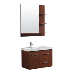 Vigo - 31in.  Moderna Trio Single Bathroom Vanity with Mirror - The VIGO Moderna Trio is a wall mounted contemporary style vanity in a wenge finish with two drawers and one cabinet under the sink.