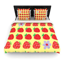 """Kess InHouse - Jane Smith """"Seasons Summer"""" Yellow Red Cotton Duvet Cover (King, 104"""" x 88"""") - Rest in comfort among this artistically inclined cotton blend duvet cover. This duvet cover is as light as a feather! You will be sure to be the envy of all of your guests with this aesthetically pleasing duvet. We highly recommend washing this as many times as you like as this material will not fade or lose comfort. Cotton blended, this duvet cover is not only beautiful and artistic but can be used year round with a duvet insert! Add our cotton shams to make your bed complete and looking stylish and artistic!"""