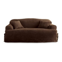 Sure Fit - Sure Fit Soft Suede T-Cushion Sofa Slipcover - Add a clean, sleek look to your furniture with covers that have the look and feel of suede. With memory stretch fabric and all-around elastic, covers go on easily and stay in place.