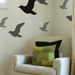 Fly Wall Decals - All the excitement of bird watching without actually having to watch for birds. These flat, stylized bird decals are available in an array of colors and can be used in a boy's or girl's room.