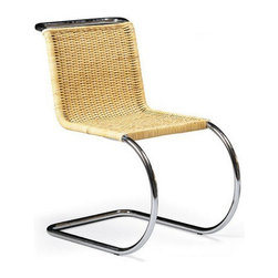 """Mies van der Rohe Cantilever Cane Chair - The principle """"less is more"""" applies to the Cantilever chair by Mies Van der Rohe. It's a modern piece that I would gladly put in a sunroom, simply because it's meant to be somewhere between indoors and outdoors."""