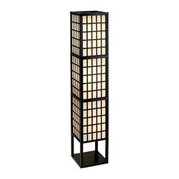 Adesso - Adesso Middleton Floor Lantern - The Middleton lamps have black painted frames and window panes. Each lamp has shade panels lined with PVC backed off-white fabric. The bottom of each shade is enclosed by a wood panel. Has foot step switch. Takes 3x60 Watt incandescent or 13 Watt CFL bulbs. 53' Overall height, 10.25 in Square, 8 in Clearance between base and shade bottom. Shade (each section): 15 in Height. Hand-hole at bottom of shade for changing lowest bulb.