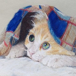 Is It Spring Yet? (Original) by Megan Doman - We don't really need a thermometer. When the cats bury beneath the bed covers all day, there's no doubt it is too cold in Minnesota! Here's hoping for spring.