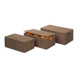 "Parchment Cord Set Of 3 Boxes - Honey-Can-Do STO-03557 3-Piece Set Paper Rope Baskets, Taupe. Keep clutter at bay with our three piece set of paper rope baskets. Available in three sizes, this set of baskets provides endless storage options for any room of the house, and the hinged lid keeps contents out of sight. Built-in carrying handles make for easy transport. Product Sizes: Small - 13.75""L x 8.5""W x 5.25""H; Medium - 15.5""L x 10.25""W x 6""H; Large - 17""L x 11.5""W x 6.5""H"