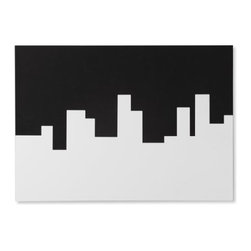 Umbra - Umbra Skyline Memo/message Board - Fun and functional, the Skyline memo board by Umbra features both pushpin and magnetic dry-erase surfaces for maximum flexibility, and a bold black-and-white graphic style. The clever reversible cityscape design can be displayed two ways for different looks. Mount Skyline to the wall with white on top for a day scene, or black on top for night. Constructed of white powder-coated metal and black high-density foam. Mounting hardware and black dry-erase marker included.