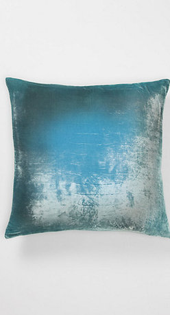 Aqua Ombré Velvet Pillow - This shimmery and ultra soft aqua velvet pillow by Kevin O'Brien is sure to be treasured on a favorite reading chair.