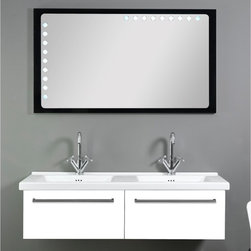 "Iotti - 48 Inch Dual Bathroom Vanity Set - Dual curved sink basins and twin vanity drawers in one set give you stunning looks and hard work in your busiest bathroom. This Italian vanity set comes in waterproof Glossy White and Glossy Black finishes. The twin basin fitted sink top gives you both plenty of room for you toiletries. Soft closing vanity drawers are easy on the ears and last longer. A horizontal ""backlight"" mirror with scratch and corrosion resistance rounds out the set. Set Includes: . Vanity Cabinet (2 drawers). Fitted dual ceramic sink (49.2 inch x 19.3 inch ). Lighted Mirror (48.2 inch x 27.5 inch ). Vanity Set Features:. Vanity cabinet made of engineered wood. Cabinet features waterproof panels. Available in Glossy White (as shown) or Glossy Black. Cabinet features 2 soft-closing drawers. Faucets not included. Perfect for modern bathrooms. Made and designed in Italy. Includes manufacturer 5 year warranty."