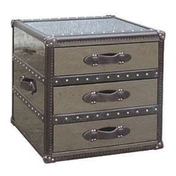Whitman Large End Table - Based upon a classic steamer trunk style, this clever piece works well as an end table or nighstand, providing plenty of storage in its drawers. Also available in a 4 and 5 drawer larger sizes.