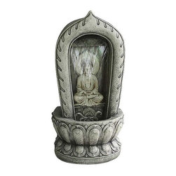 EttansPalace - Classic Buddha Sculpture Statue Meditation Fountain - The impressive Grand Buddha Garden Fountain is sure to be the crowning statement in your garden or on your patio. A cascading sheet of water flows over the image of Buddha to create an in-home oasis and peaceful, meditative atmosphere. With the bottom pool lit by the included low-voltage LED light, you can enjoy this fountain in the evening accompanied by the lyrical sound of water music. It can be placed indoors or out and constantly recycles water from a hidden reservoir. Cast in quality designer resin and hand-finished to replicate a Asian Temple waterfall, this investment in garden art features an integrated, UL-listed, indoor/outdoor pump.