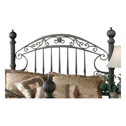 Hillsdale Furniture - Hillsdale Chesapeake Poster Headboard with Rails - Queen - Substantial and powerful, the Chesapeake bed combines both delicate scrollwork with imposing posts and finials to create an effect that is both grand and elegant. Featuring a versatile rustic old brown finish and scrolled side rails. The Chesapeake is an eye-catching addition to your home.