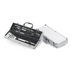 """Picnic Plus - 3 Pc BBQ Tool Set In Case, Silver Tone - Picnic Plus 3 Piece Stainless Steel Barbecue Tool Set, Silver Tone. Color/Design: Silver Tone; 3 stainless steel 13 1/2"""" tools; Spatula, fork and tongs fit securely into the aluminum accented storage carrying case. Dimensions: 14 1/2""""W x 4""""D x 3 1/2""""H"""