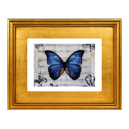 Flutterby Kiss- Framed Artwork, Butterfly Love, Fine Art Print - A beautiful limited edition fine art print comes signed, matted, and framed. Direct from the artist this piece features a stunning high quality hand made gold wood frame. The high quality print is produced by the artist in very limited numbers on professional archival paper. Less then 250 prints are made. Guaranteed to last, This is a piece you will love to own. Simply stunning, the photos do not do it justice. Total size of the frame is 12.5 x 10.5 x 1.5 inch deep. This is a great way to start or add to an existing collection!