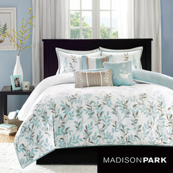 Madison Park - Madison Park Amber Cotton 6-piece Duvet Cover Set - Celebrate the arrival of spring and breathe new life into your bedroom with this charming duvet cover set. A sweet floral pattern is picked out in brown and light blue to make this bed covering ideal for completing a cottage decorating scheme.