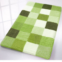 Caro Checkered Bath Rugs from Vita Futura - High quality, luxury bath rug with a contemporary, multi tone block design.