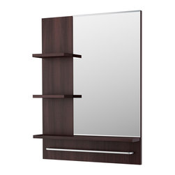 Lillången Mirror - The sleekly integrated design of this mirror adds a bit of shelving space in a small bathroom.