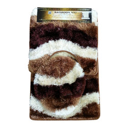 Rug - Beige/Brown Plush Bathroom Mat 3-PC-Set, 100% Polyester Hand-tufted - Brighten your Home Bathroom with these unique High Quality Mats that add comfort softness underfoot. High-Traction floor mats are designed to prevent the mat from slipping out from under your foot, providing a safer transition step onto the mat. Design for incredible comfort with Vibrant colors that won't fade wash after wash. Step out of your tub or shower on to the luxurious comfort of this unique bath mat. Our plush and ultra soft bath mat is super soft and absorbs water twice as fast as other materials, making it extra gentle and ultra absorbent.