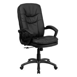 Flash Furniture - Flash Furniture Mid-Back Massaging Black Leather Executive Office Chair - Enjoy a relaxing massage in the comfort of your own office or home with this incredibly comfortable Massaging Executive Office Chair by Flash Furniture. The included remote has a variable slider intensity mode to get to your desired comfort level and has a designated side pocket when not in use. Chair features a mid-back contemporary design with soft leather upholstery and double padded seat and back. Get the most out of your next office chair with this Overstuffed Padded Executive Chair with included Massage feature.